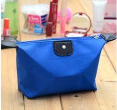 Avtorkningsbar sminkväska, dumpling-modell, blå sminkväska